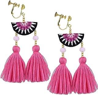 Bohemian Pink Long Tassel Silk Fringe Thread Clip on Earrings Crystal Fan Cloth Jewelry for Girls Women