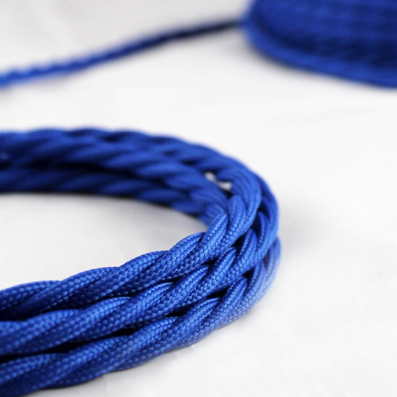 Avec 3 Broches Longueur 1 Metre 0,75mm/² - Parfait Pour Les Projets De Bricolage smartect C/âble Electrique Textile Pour Lampe Bleu Marin/é