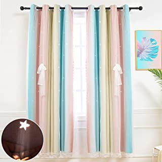 Hughapy Star Curtains for Girls Bedroom Kids Room Decor...