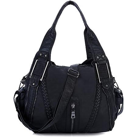 Bolsos de Mujer Bandolera,Bolso Señora Multi-Bolsillo Cuero PU Bolso Shopper Crossbody Bag Bolsos de Hombro para Casual,Diario,Trabajo,Negro