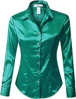 RK RUBY KARAT Womens Satin Silk Work Button Down Blouse Shirt with Cuffs