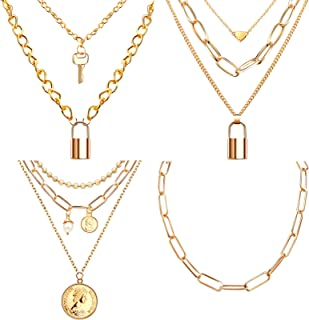 Hicarer 4 Pieces Dainty Layered Chain Necklace Set, Multilayer Adjustable Layering Pendant Necklaces Chunky Link Paperclip...