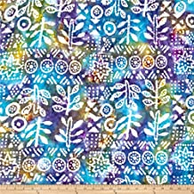 Textile Creations Hudson Bay Rayon Challis Ethnic Patch Purple/Blue Fabric By The Yard