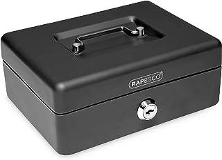 Rapesco Caisse a Monnaie et Billets en Acier avec 5 Compartiments 20 cm Noir