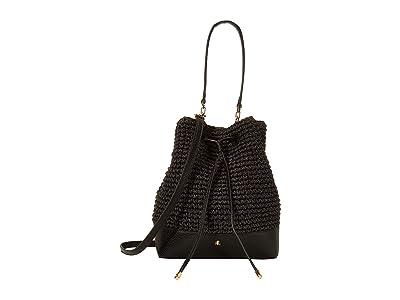 LAUREN Ralph Lauren Crochet Straw Debby Drawstring Medium (Black) Handbags