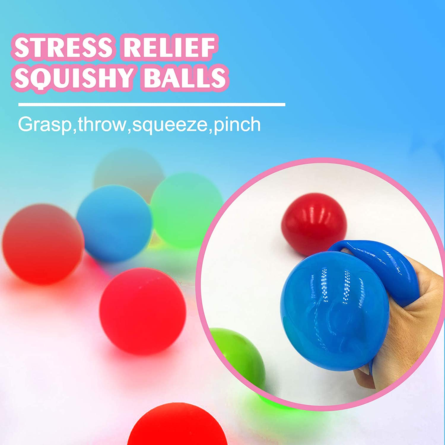 Squeeze Toy for OCD Sticky Balls 4pcs Ceiling Sticky Balls Glow Stress Relief Balls Sticky Wall Balls Squishy Luminescent Stress Relief Toys for Adults Kids Anxiety ADHD