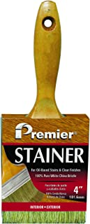 """Premier Paint Roller B500-40 Premier 4"""" x 7/8"""" Stain Brush, 100% White China Bristle with Varnished Wood Handle 4"""" x"""