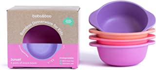Bobo&Boo Bamboo Kids Snack Bowls, Set of 4 Bamboo Dishes, Non Toxic, Eco Friendly & Stackable Kids Snack Containers, Great Gift for Baby Showers, Birthdays & Preschool Graduations, Sunset