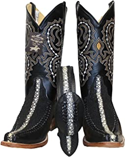 Dona Michi Mens Western Cowhide Stingray Embossed Leather Decorative Shaft Boots/Free Belt