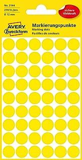 AVERY Zweckform 3144 selbstklebende Markierungspunkte Durchmesser 12 mm, 270 Klebepunkte auf 5 Bogen, runde Aufkleber für Kalender, Planer und zum Basteln, Papier, matt gelb