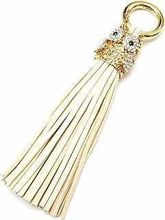 PT1074E-Porta-chiavi, gioiello da borsetta in metallo, a forma di civetta, con Strass e Pompon, con frange, in similpelle,...