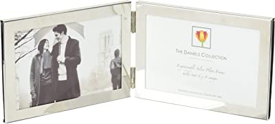 Dennis Daniels Hinged Double Horizontal Engraveable Silver Plate Picture Frame, 6 x 4 Inches,