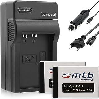 2X Baterìa 1000mAh + Cargador (Coche/Corriente) para Canon LP-E17 / EOS 750D 760D / EOS M3 (SIN indicación del Tiempo restante de Toma!)