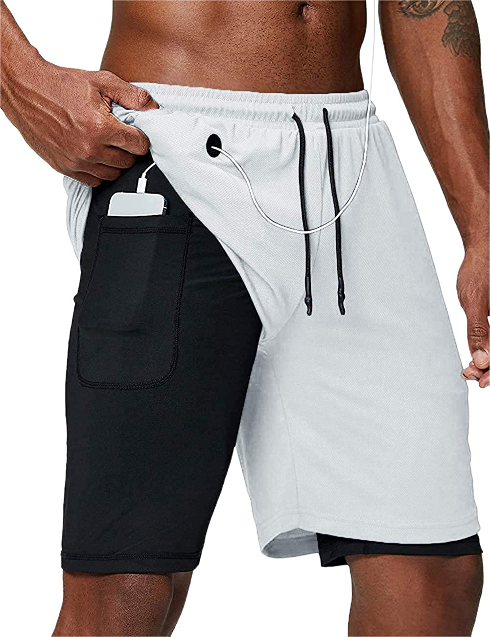 Hestenve Mens 2 in 1 Gym Running Shorts Workout Quick Dry Yoga Shorts with Pocket