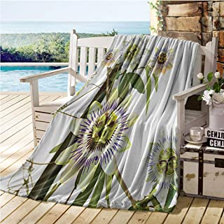 Jecycleus Leaves and Plants Nature Decor Collection, Digital Printing Blanket, Passiflora The Passion Flower and Passionfruit Clear Design, Print Artwork Image 62x60 Inch