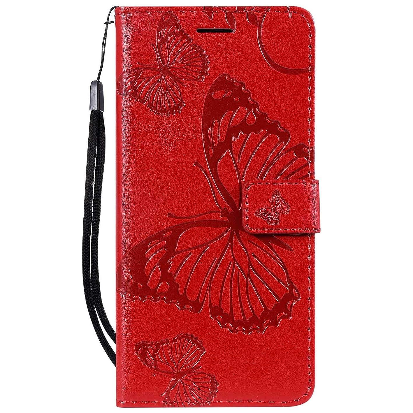 同封する放つ無力OMATENTI Nokia 3.1 Plus 手帳型 ケース, 良質 高級感PUレザー カード収納ホルダー付きストラップ付き 落下防止 全面保護 衝撃吸収 保護カバー エンボス蝶柄, 赤