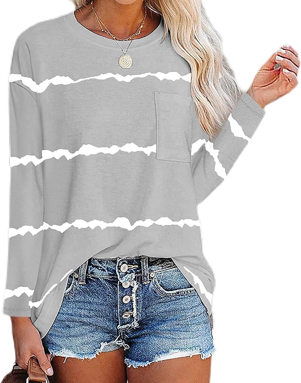 DuAnyozu Women Loose Tshirt Long Sleeve Crewneck Casual Tops Tee Shirt Fashion Blouse with Pocket
