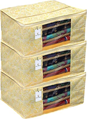 Kuber Industries Metallic Kerry 3 Piece Non Woven Saree Cover, Large, Gold-CTKTC14065