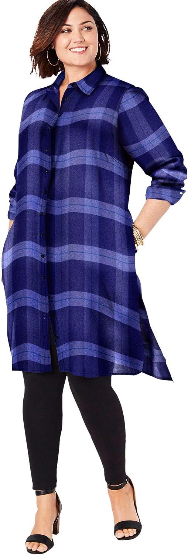 Roaman's Women's Plus Size Button-Front Ultra Tunic Long Shirt Blouse