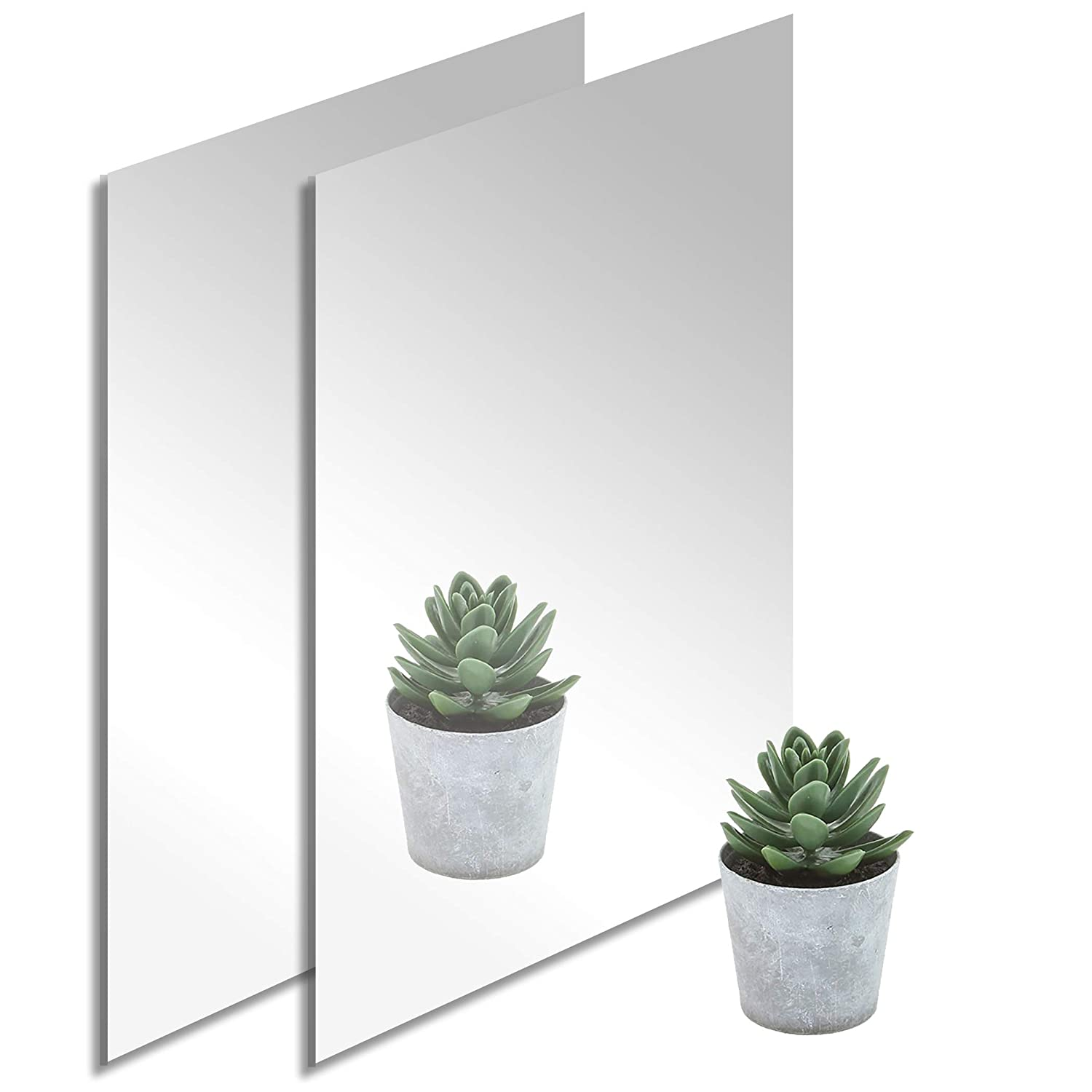 2-Pack 12'' x 24'' At the price of surprise Silver Acrylic Milwaukee Mall Mirrored