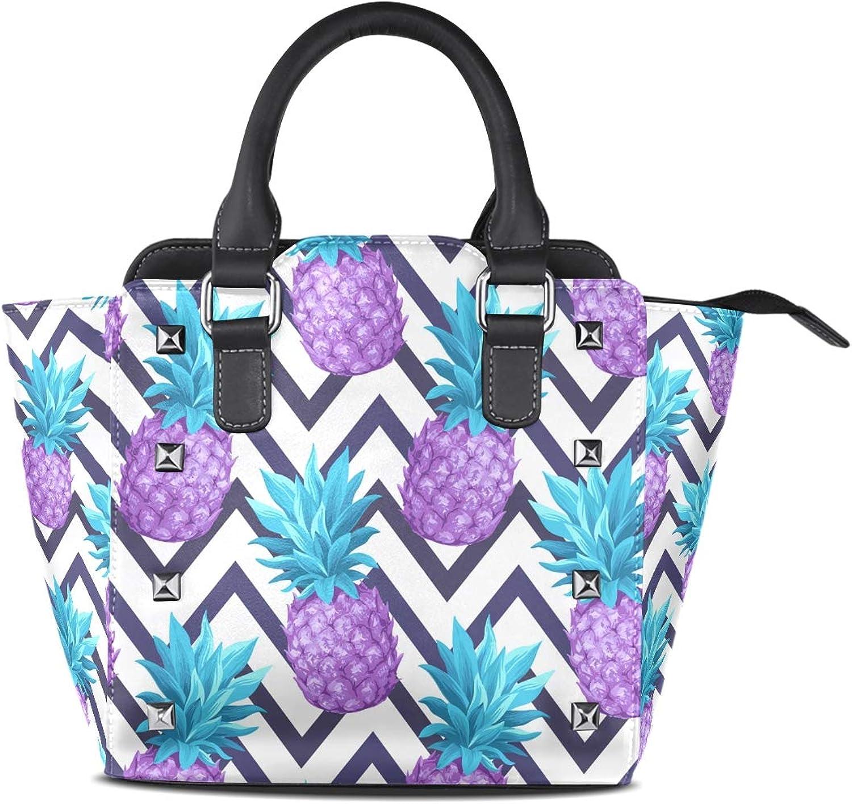 My Little Nest Women's Top Handle Satchel Handbag Tropical Pineapples Ladies PU Leather Shoulder Bag Crossbody Bag