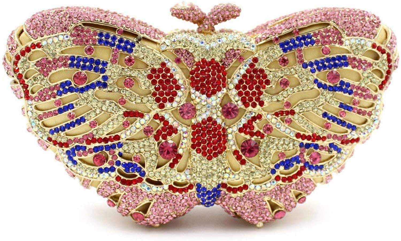Sturdy (color Optional) Women Clutch Handbag Butterfly Rhinestone Dinner Package Evening Handbag Purse Large Capacity (color   C6)