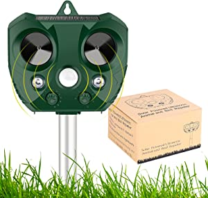 Ultrasonic Animal Pest Repellent, Solar Powered Rodent Repeller, Outdoor Waterproof Deterrent Devices,Repellent with Motion Detector, Flashing Light, for Raccoon,Deer,Squirrel,Dog,Mole,Bird,Snake etc.