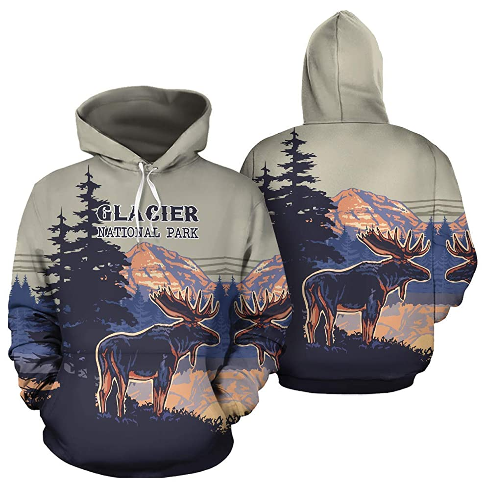 Glacier National Park Unisex Pullover Hoodies Hooded Sweatshirts Birthday Christmas Mountain Climbing Mountaineering Hiking Trekking Gifts For Men Women Climbers Hikers Mountaineers Lovers