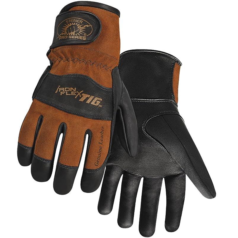 Steiner 0262-M SPS Ironflex TIG Gloves, Black Premium Grain Kidskin, Brown Reversed Grain Kidskin Back, Adjustable, Medium fcbisscf438733