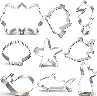 Baby shark cutte Cookie Cutters Set - 9 PCS - Mermaid Tail,baby shark,Seahorse,Starfish,Seashell,whale,Shark Cookie Cutter...