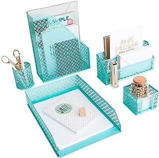 Aqua - Teal 5 Piece Cute Desk Organizer Set - Desk Organizers and Accessories for Women - Cute Office Desk Accessories - D...