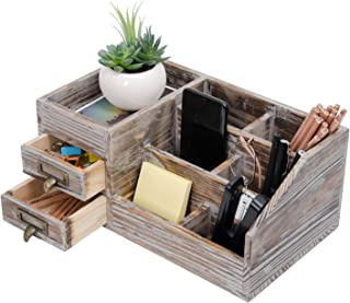 $24 » Liry Products Rustic Torched Wooden Desktop Organizer Dark Brown Tabletop Storage Cabinet Stepped Rack Multiple Compartments 2 Tier Drawers Makeup Accessory Sorter Display Box Home Office Supplies