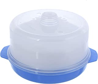 Kuber Industries Plastic Big Idli, Dhokla Maker Combo Set for Microwave with 3 Idli Moulds and 1 Dhokla Pan (Blue) - CTLTC44402