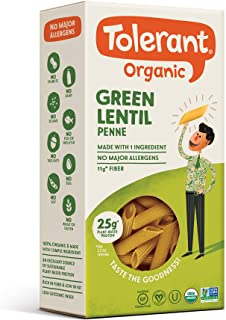 Tolerant Organic Gluten Free Green Lentil Elbow Pasta, One 8 Ounce Box, Plant Based Protein, Vegan Pasta, Single Ingredient Protein Pasta, Whole Food, Clean Pasta, Low Glycemic Index Pasta