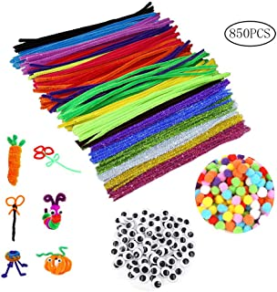 Color Scissor 850 Pcs Pipe Cleaners Set, Craft Supplies Set Including 500 PCS Chenille Stems, 250 Pcs Pom poms and 100 PCS Self-Sticking Wiggle Eyes for DIY Art Crafts Decorations (Assorted Colors)