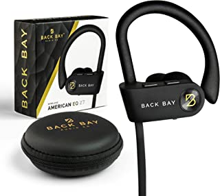 Back Bay - Runner Wireless Bluetooth Earbuds [2019 Update] Sweatproof Headphones. Featuring Adjustable Ear-Hooks, 8-Hour Battery, 5 EQ Sound Modes, Microphone and Earphone Carrying Case