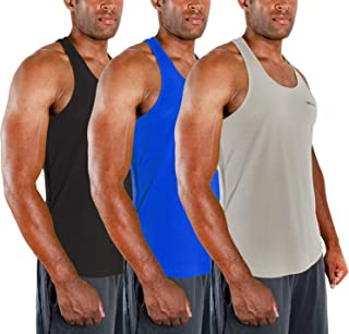DEVOPS Men's 3 Pack Cool Dry Fit Y-Back Muscle Gym Training Tank Top Sleeveless