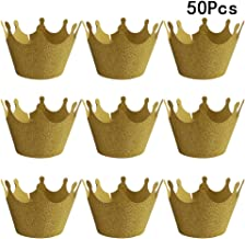 BESTONZON 50 Pcs Crown Cupcake Wrappers/Cake Paper Cups/Baking Cup Muffin Case Trays,for Wedding Party Birthday Decoration (Golden)