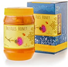 Honey Land 100% Pure Raw Unheated Thistle Flowers Honey Organic Kosher Passover From the Nectar of Thistle Echinops Flower Blossoms Full of Health Benefits Convenient 500gr   17.5 oz Plastic Jar