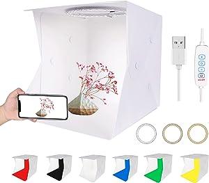 QYXINC Mini Portable Folding Photo Studio Box with Adjustable 72LED Ring Light with White/Soft/Warm Light,Light Box Photography with 6 Color Photo Backdrop,23cm Photo Light Box for Small Size Item