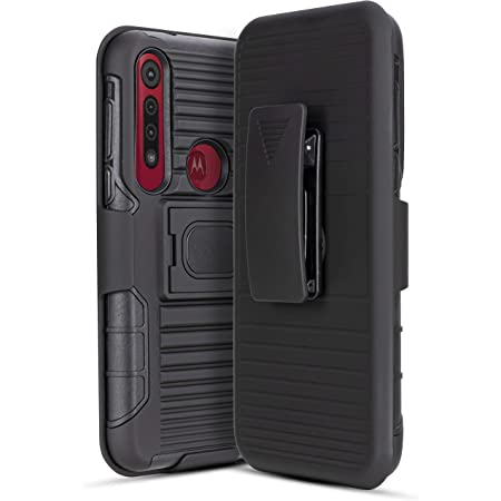 for Moto G8 Plus [5 Functions in 1] Temper Glass Holster Case Heavy Duty Shock Absorption Magnetic Ring Kickstand Armor Case with Belt Swivel Clip Holster Cover (Black)