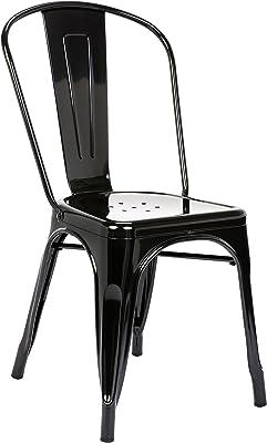 Pioneer Square Haley Stackable Metal Chair, Set of 4, Jet Black