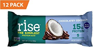 Rise Bar Non-GMO, Gluten Free, Vegan, Paleo, Plant Based Protein Bar made with Pea Protein (15g), No Added Sugar, Chocolatey Coconut High Protein Bar with Fiber & Vitamins 2.1oz, (12 Count)