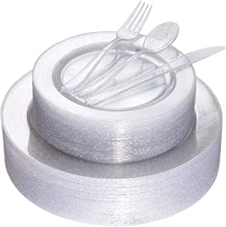 180pcs Silver Glitter Plates with Disposable Plastic Silverware Service for 36 Guest, Includes 36 Dinner Plates 10.25