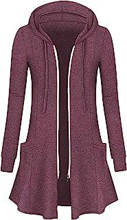 Cucuchy Womens Long Hoodies Casual Zip Up Tunic Sweatshirt Open Front Cardigan