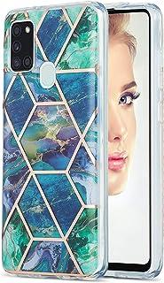 تصميم Ffish رخام متوافق مع حافظة Samsung Galaxy A21s + واقي شاشة، غطاء رفيع للغاية جل مطاط TPU ناعم، أزرق/أخضر