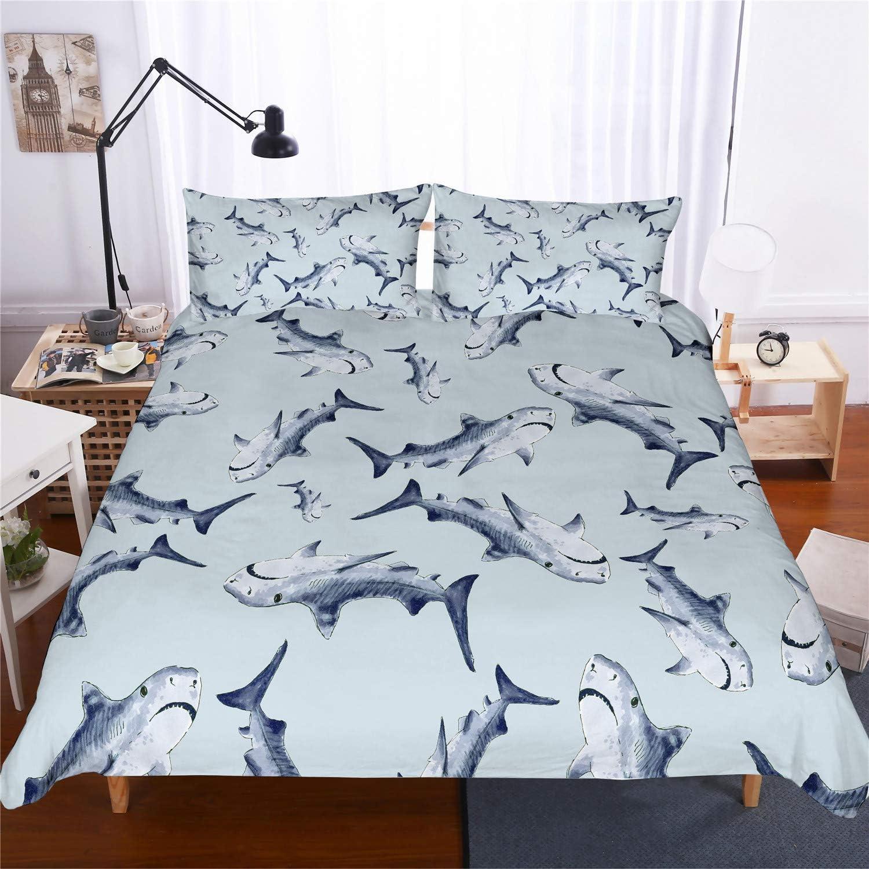 135x200cm, Big Rechnung Hai 3 St/ück Super Weiche Angenehme Mikrofaser Einfache Bettw/äsche Set Gem/ütlich Enthalten Bettbezug Kissenbezug Betten Schlafzimmer DOTBUY 3D Bettbezug Set
