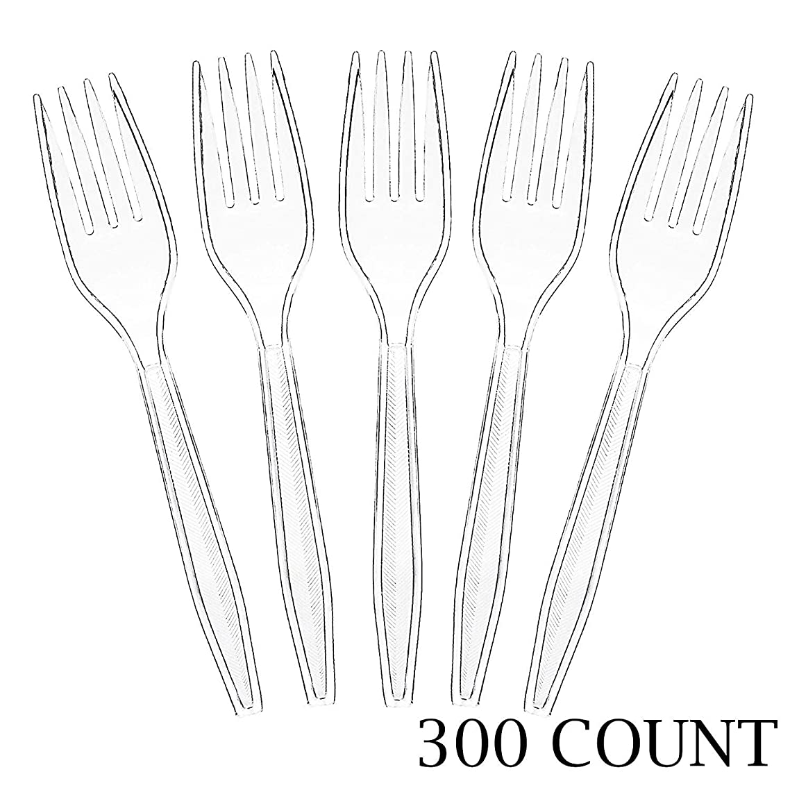 Plasticpro Clear Plastic Forks Disposable Cutlery Utensils 300 Count