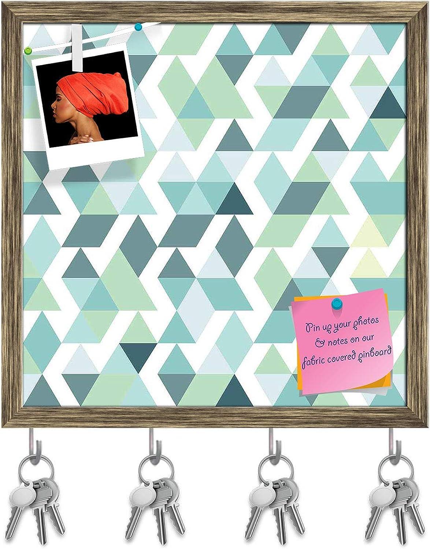 Artzfolio Bright bluee Triangles Key Holder Hooks   Notice Pin Board   Antique golden Frame 20 X 20Inch