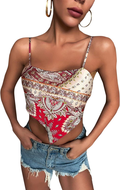 Milumia Women's Scarf Print Tie Back Spaghetti Strap Asymmetrical Satin Cami Crop Top